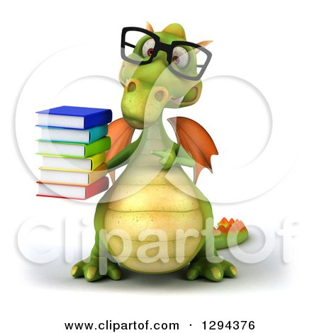 Clipart of a 3d Bespectacled Green Dragon Holding and Pointing to a Stack of Books - Royalty Free Illustration by Julos