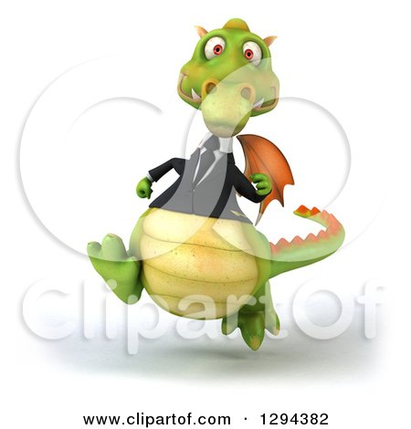 Clipart of a 3d Green Business Dragon Running - Royalty Free Illustration by Julos