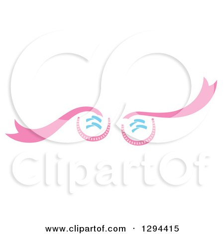 Clipart of Pink Baby Girl Shoes with Long Laces - Royalty Free Vector Illustration by Cherie Reve
