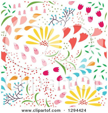 Clipart of a Seamless Colorful Spring Flower Pattern ...