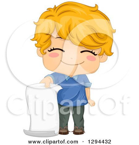 Clipart of a Cute Happy Strawberry Blond White School Boy Holding a Blank Piece of Paper - Royalty Free Vector Illustration by BNP Design Studio