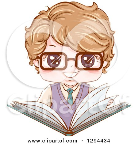 Clipart of a Happy Dirty Blond White School Boy Wearing Glasses and Holding an Open Large Book - Royalty Free Vector Illustration by BNP Design Studio