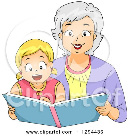 Clipart of a Happy White Senior Grandmother Reading a Story Book to Her Blond Granddaughter - Royalty Free Vector Illustration by BNP Design Studio