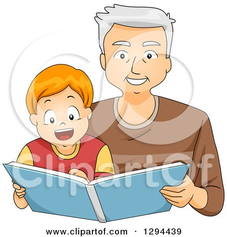 Clipart of a Happy White Senior Grandfather Reading a Story Book to His Brunette Grandson - Royalty Free Vector Illustration by BNP Design Studio
