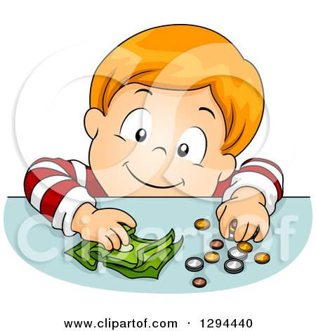 Clipart of a Happy Red Haired White Boy Putting Coins and Cash Money on a Table - Royalty Free Vector Illustration by BNP Design Studio
