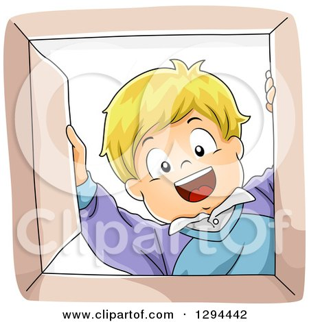 Clipart of a Happy Blond White Boy Smiling down into a Box - Royalty Free Vector Illustration by BNP Design Studio