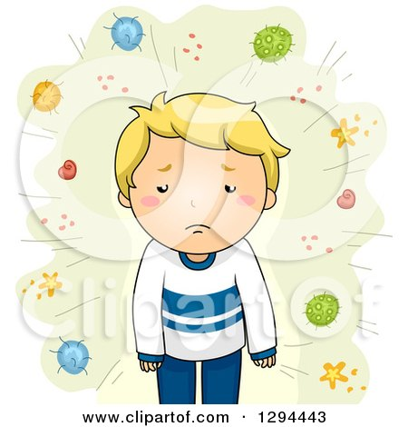 Clipart of a Sick Blond White Boy with Germs and Viruses on Green - Royalty Free Vector Illustration by BNP Design Studio