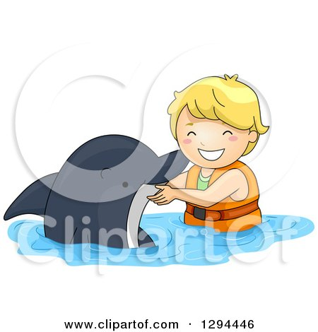 Clipart of a Happy Blond White Boy Swimming with a Dolphin - Royalty Free Vector Illustration by BNP Design Studio