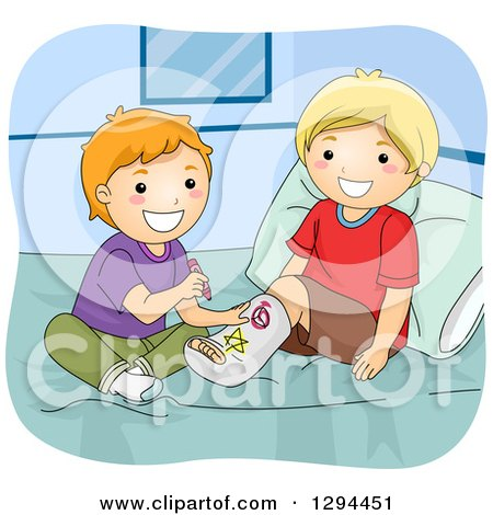 Clipart of a Happy Red Haired White Boy Drawing on His Blond Best Friends Leg Cast on a Bed - Royalty Free Vector Illustration by BNP Design Studio