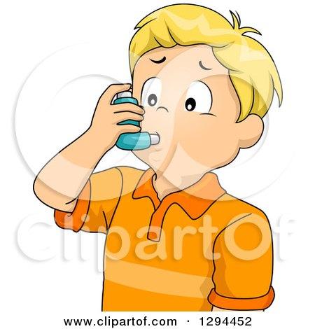 Blond White Boy Using an Asthma Inhaler Posters, Art Prints