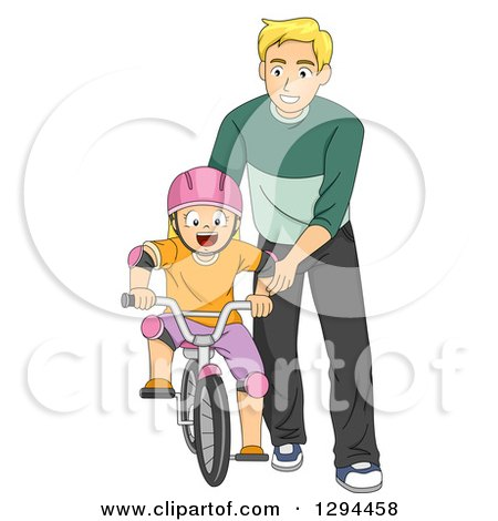 Clipart of a Happy Blond Father Teaching His Son How to Ride a Bike - Royalty Free Vector Illustration by BNP Design Studio