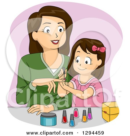 Clipart of a Happy Brunette White Monther and Daughter Applying Nail Polish - Royalty Free Vector Illustration by BNP Design Studio
