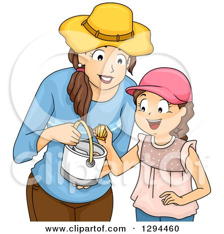Clipart of a Happy Brunette Mother and Daughter Collecting Shells at a Beach - Royalty Free Vector Illustration by BNP Design Studio