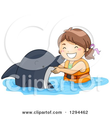 Clipart of a Happy Brunette White Girl Swimming with a Dolphin - Royalty Free Vector Illustration by BNP Design Studio