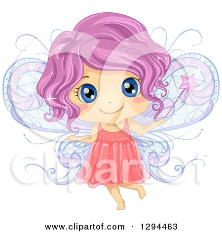 Clipart of a Cute Purple Haired, Blue Eyed White Female Fairy Holding a Magic Wand - Royalty Free Vector Illustration by BNP Design Studio