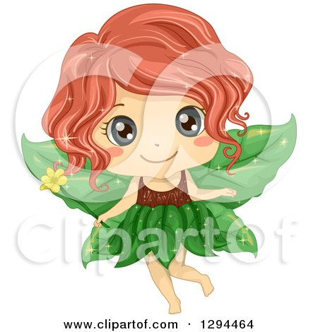 Clipart of a Cute Red Haired, Blue Eyed White Female Fairy with Leaf Wings, Holding a Flower Magic Wand - Royalty Free Vector Illustration by BNP Design Studio