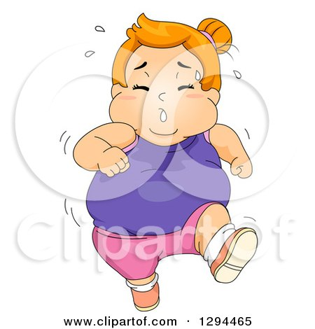 Clipart of a Red Haired White Obese Girl Jogging and Sweathing - Royalty Free Vector Illustration by BNP Design Studio
