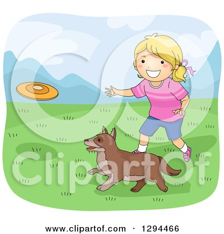 Clipart of a Happy Blond White Girl Throwing a Frisbee for Her Dog in a Meadow - Royalty Free Vector Illustration by BNP Design Studio