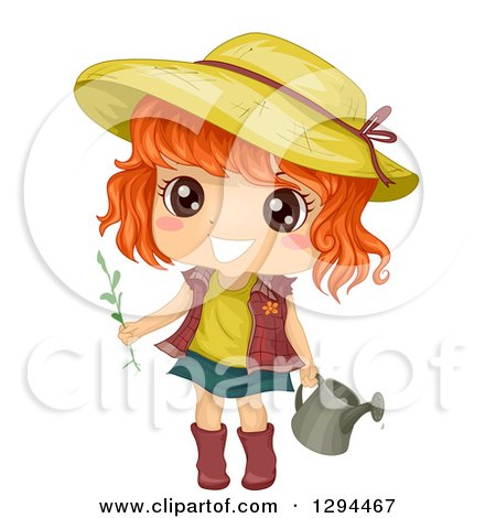 Clipart of a Happy Red Haired, Brown Eyed White Girl Wearing a Sun Hat and Gardening with a Watering Can - Royalty Free Vector Illustration by BNP Design Studio