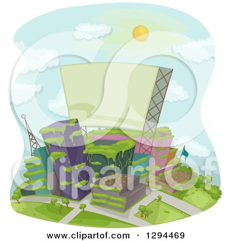 Clipart of a Deserted or Green City with Plants Overgrowing on the Buildings and a Blank Sign - Royalty Free Vector Illustration by BNP Design Studio