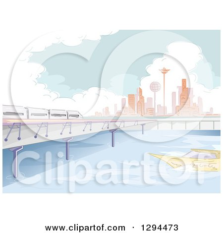 Clipart of a Sketched Modern River Front City with a Boat and Train - Royalty Free Vector Illustration by BNP Design Studio