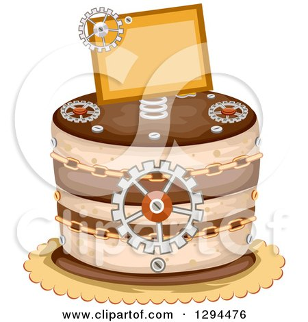 Clipart of a Steampunk Themed Birthday Cake with Chains, Gears and a Sign - Royalty Free Vector Illustration by BNP Design Studio