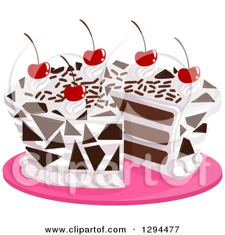 Clipart of a Cherry Topped Black Forest Cake on a Pink Platter - Royalty Free Vector Illustration by BNP Design Studio