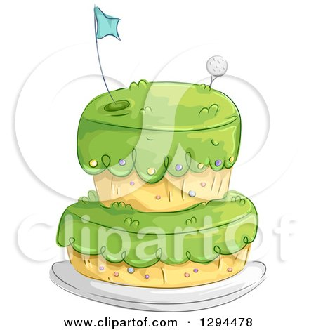 Clipart of a Golf Course Themed Birthday Cake - Royalty Free Vector Illustration by BNP Design Studio