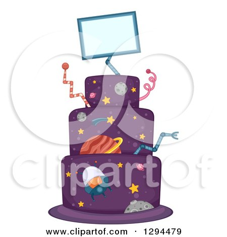 Clipart of a Purple Science Fiction Outer Space and Alien Birthday Cake - Royalty Free Vector Illustration by BNP Design Studio