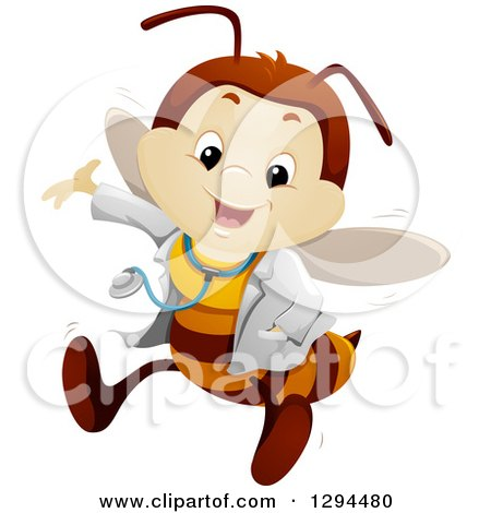 Clipart of a Happy Presenting Bee Doctor - Royalty Free Vector Illustration by BNP Design Studio