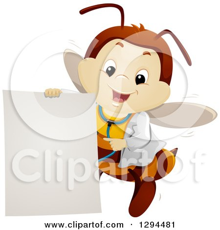 Clipart of a Happy Bee Doctor Flying and Pointing to a Blank Sign - Royalty Free Vector Illustration by BNP Design Studio