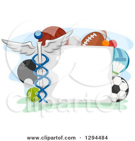 Clipart Of A Blank Sign Bordered With Sports Balls And A Medical Caduceus Royalty Free Vector Illustration
