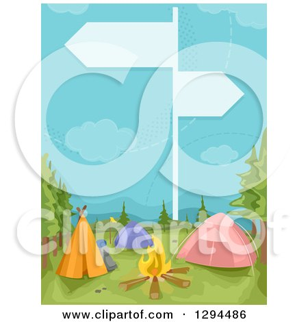 Clipart of a Guide Sign over a Camp Ground - Royalty Free Vector Illustration by BNP Design Studio