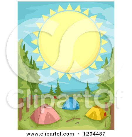 Clipart of a Giant Sun over Tents at a Camp Ground - Royalty Free Vector Illustration by BNP Design Studio