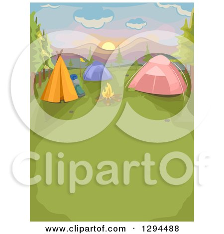 Clipart of a Fire and Camp Site with Tents at Sunset - Royalty Free Vector Illustration by BNP Design Studio