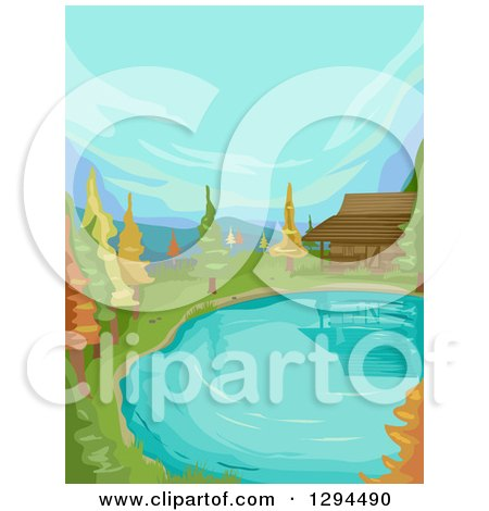 Clipart of a Cabin at the Edge of a Lake or Pond with Autumn Trees - Royalty Free Vector Illustration by BNP Design Studio