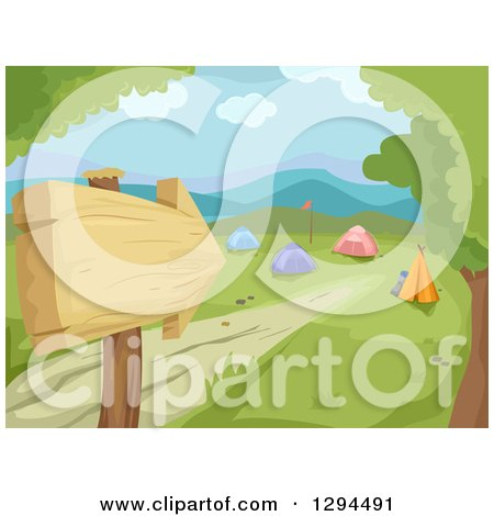 Clipart of a Wooden Arrow Sign and Path Leading to a Camp Ground in a Valley - Royalty Free Vector Illustration by BNP Design Studio