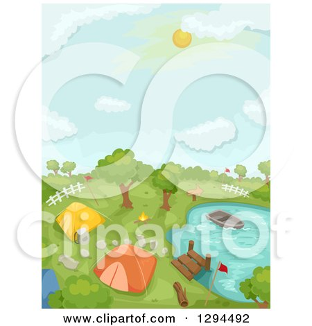 Clipart of a Camp Ground, Dock and Boat at a Lake or Pond - Royalty Free Vector Illustration by BNP Design Studio