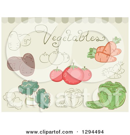 Clipart of Sketched and Colored Vegetables on Green - Royalty Free Vector Illustration by BNP Design Studio