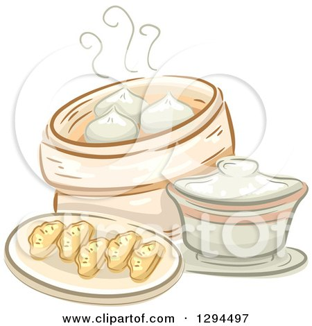 Clipart of a Sketched Plate of Dimsum and a Container of Meat Buns - Royalty Free Vector Illustration by BNP Design Studio