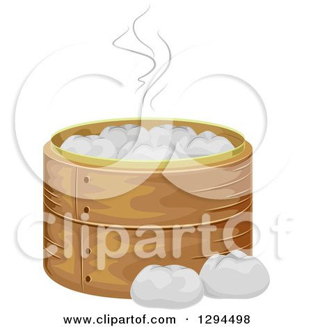 Clipart of a Bamboo Steamer Basket with Meat Buns - Royalty Free Vector Illustration by BNP Design Studio