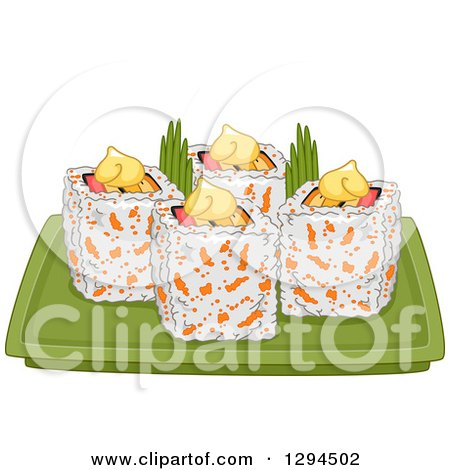 Clipart of a Plate of California Makizushi Sushi Rolls - Royalty Free Vector Illustration by BNP Design Studio