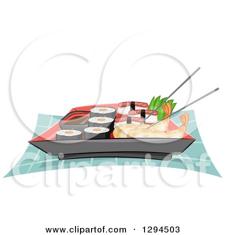 Clipart of a Plate of Chopsticks, Shrimp Tempura, Sushi and California Rolls - Royalty Free Vector Illustration by BNP Design Studio