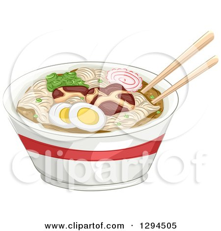 Clipart of a Pair of Chopsticks Resting on Top of a Bowl of Naruto Ramen Noodles - Royalty Free Vector Illustration by BNP Design Studio