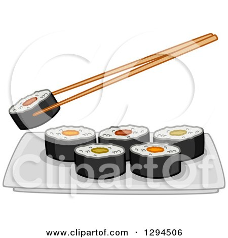 Clipart of Chopsticks Holding a Roll over a Plate of Makizushi Sushi - Royalty Free Vector Illustration by BNP Design Studio