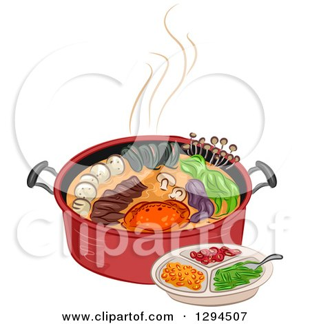 Clipart of a Red Pot Full of Ingredients and a Plate - Royalty Free Vector Illustration by BNP Design Studio
