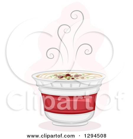 Clipart of a Steamy Hot Cup of Instant Ramen Noodles - Royalty Free Vector Illustration by BNP Design Studio