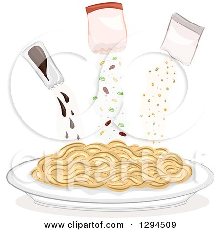 Clipart of a Plate of Noodles with Seasoning Packets Above - Royalty Free Vector Illustration by BNP Design Studio