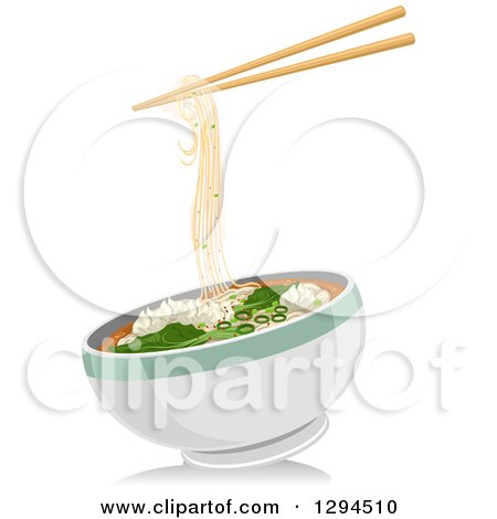 Clipart of a Pair of Chopsticks with Wonton Noodles over a Bowl - Royalty Free Vector Illustration by BNP Design Studio