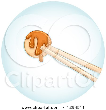 Clipart of Chopsticks Holding a Piece of Takoyaki in a Blue Circle - Royalty Free Vector Illustration by BNP Design Studio